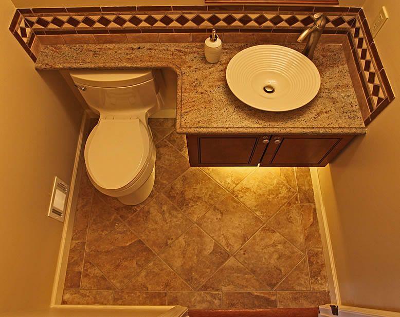 Woodbridge Montclair Powder Bathroom Remodel Like Counter Space Extends Over Toilet Back