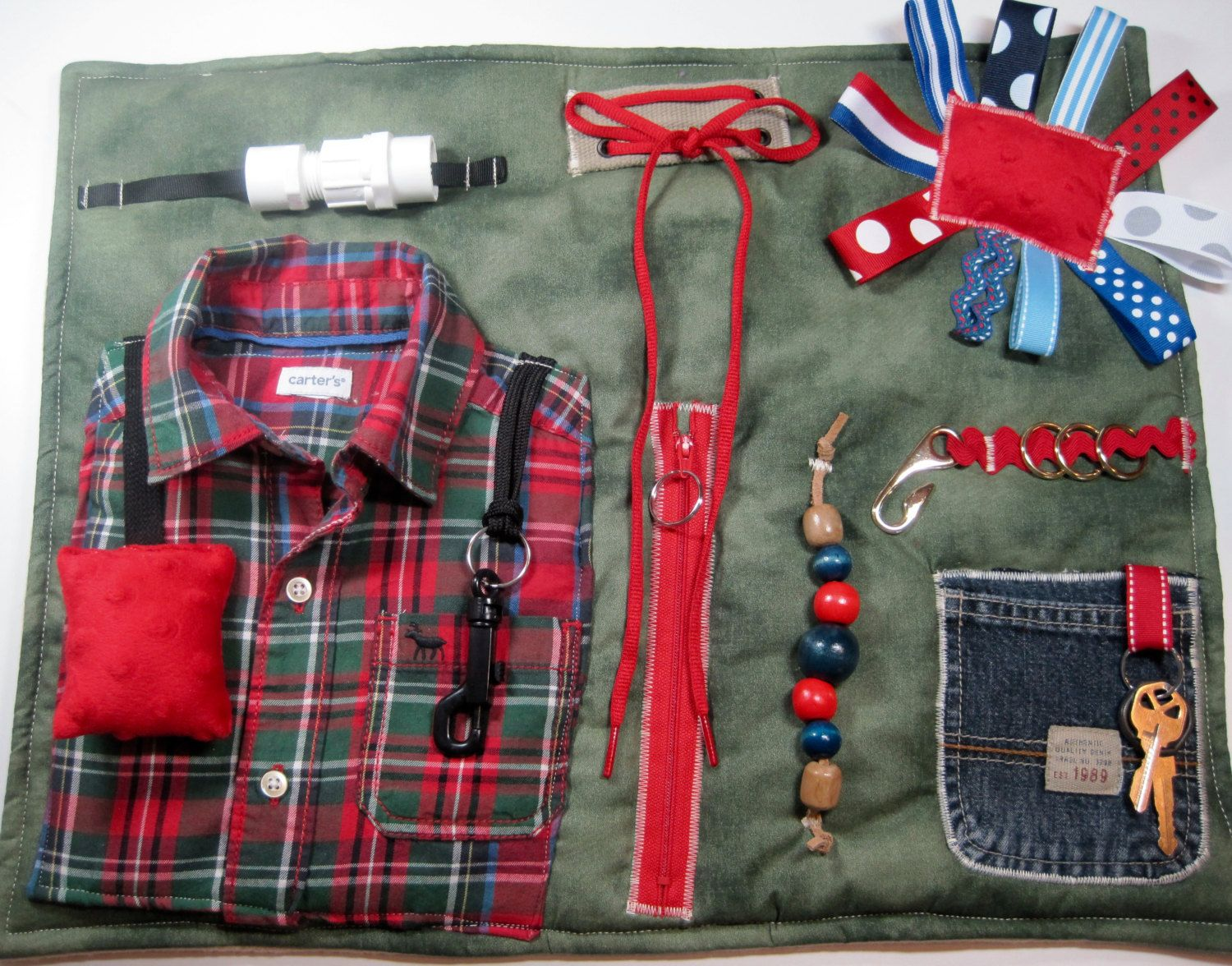 Masculine Red/Green Plaid Shirt on Green Fidget, Sensory, Activity Quilt Blanket by TotallySewn on Etsy