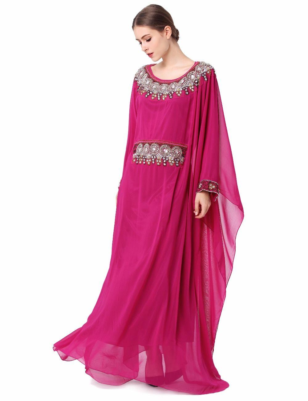 Mujeres Del Bordado de manga larga musulmán del vestido de Dubai ...