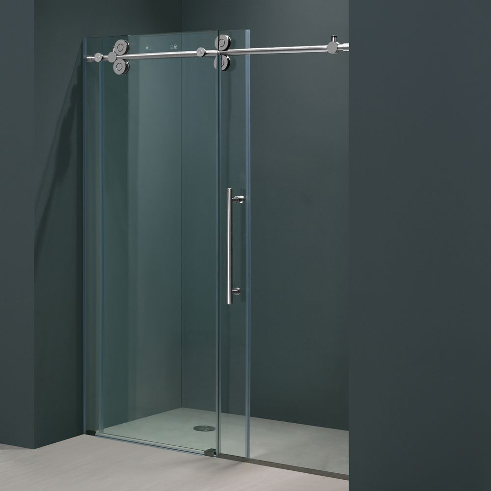 Shower door dreamline bathroom shower doors frameless glass shower - Vigo 60 Inch Clear Glass Frameless Sliding Shower Door 12636331 Overstock Com