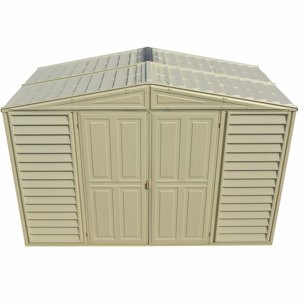 Duramax 10 X 5 Woodbridge Vinyl Storage Shed With Foundation Kit 0283 Top Vinyl Storage Sheds Vinyl Storage Storage Shed