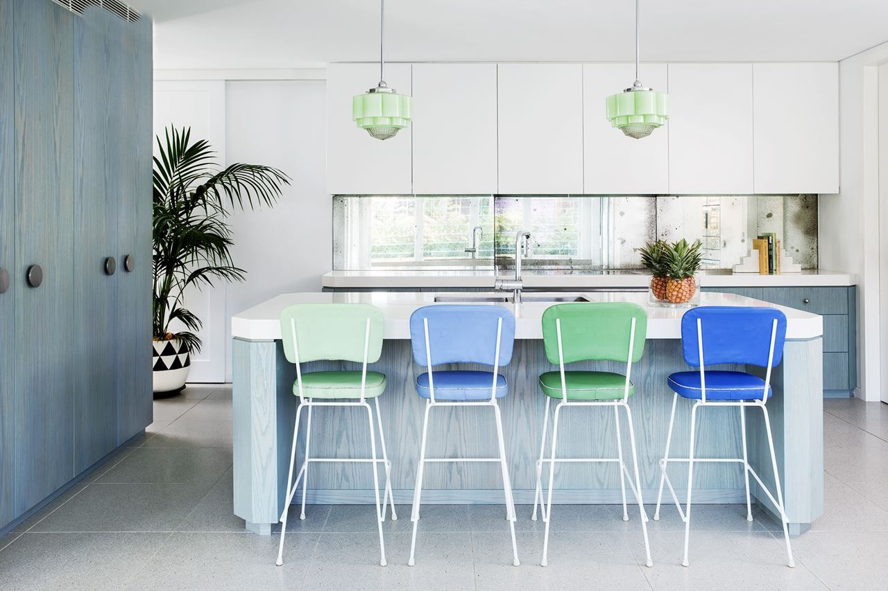 Gallery - The Latest Luxury Kitchens   Green bar stools, Mirror ...