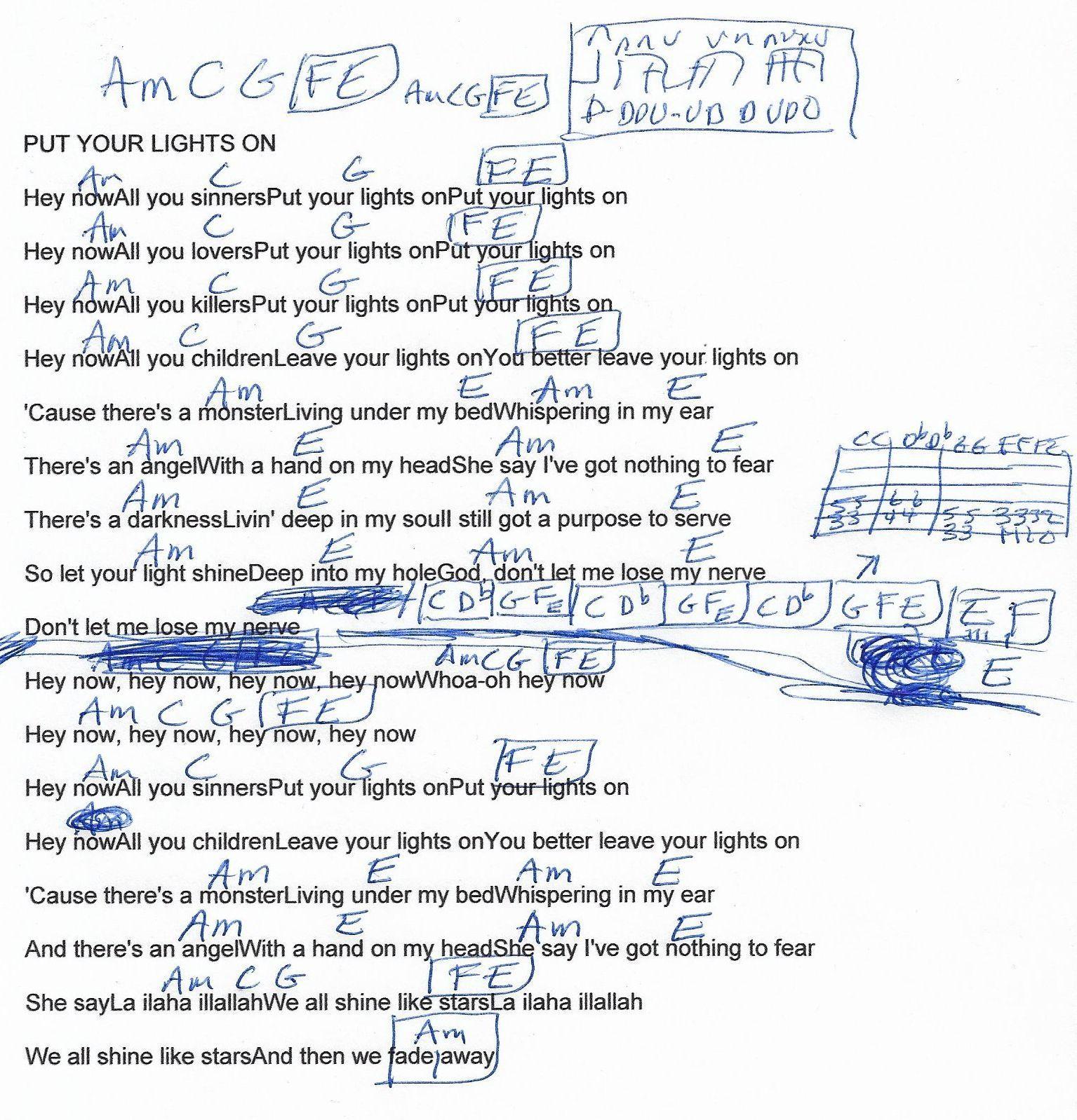 Put Your Lights On Santana Guitar Chord Chart Guitar Songs Guitar Chords Santana Guitar
