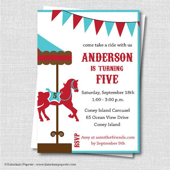 Boy Carousel Birthday Invitation