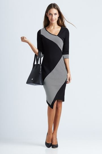 6434ab6f09 bird keepers The Contrast Striped Ponti Dress - Womens Knee Length Dresses  - Birdsnest Online Fashion Store