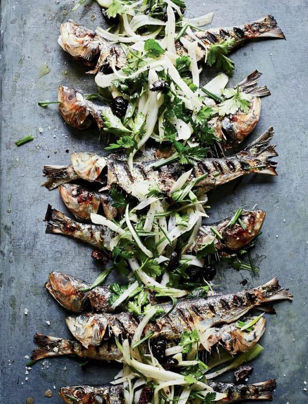Grilled Sardines with Herbed Fennel-and-Olive Salad | Dinner