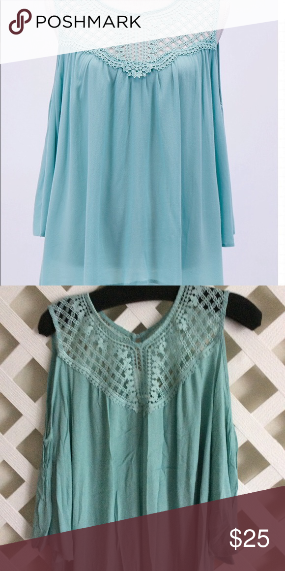 3a54faa8938956 🌸Grace and Lace Bella Lace Top🌸 🌸Open crochet lace yoke and cold shoulder  detail top the goes easily with shorts