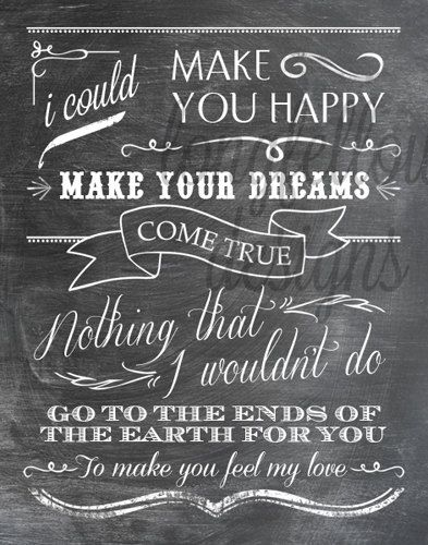 Make You Feel My Love   Adele/Garth Brooks Lyrics   11 X 14 Chalkboard
