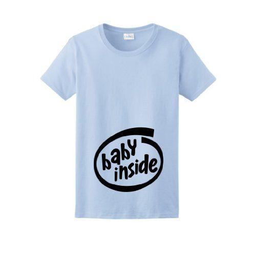 Intel Inspired Baby Inside Maternity Themed Ladies T Shirt Xl Lt
