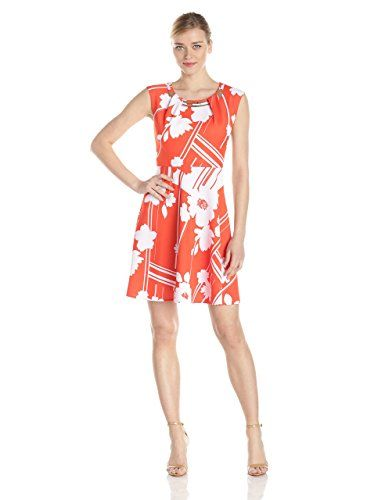 633509f44b Sandra Darren Women s Printed A-Line Dress with Embellished Neckline at  Amazon Women s Clothing store