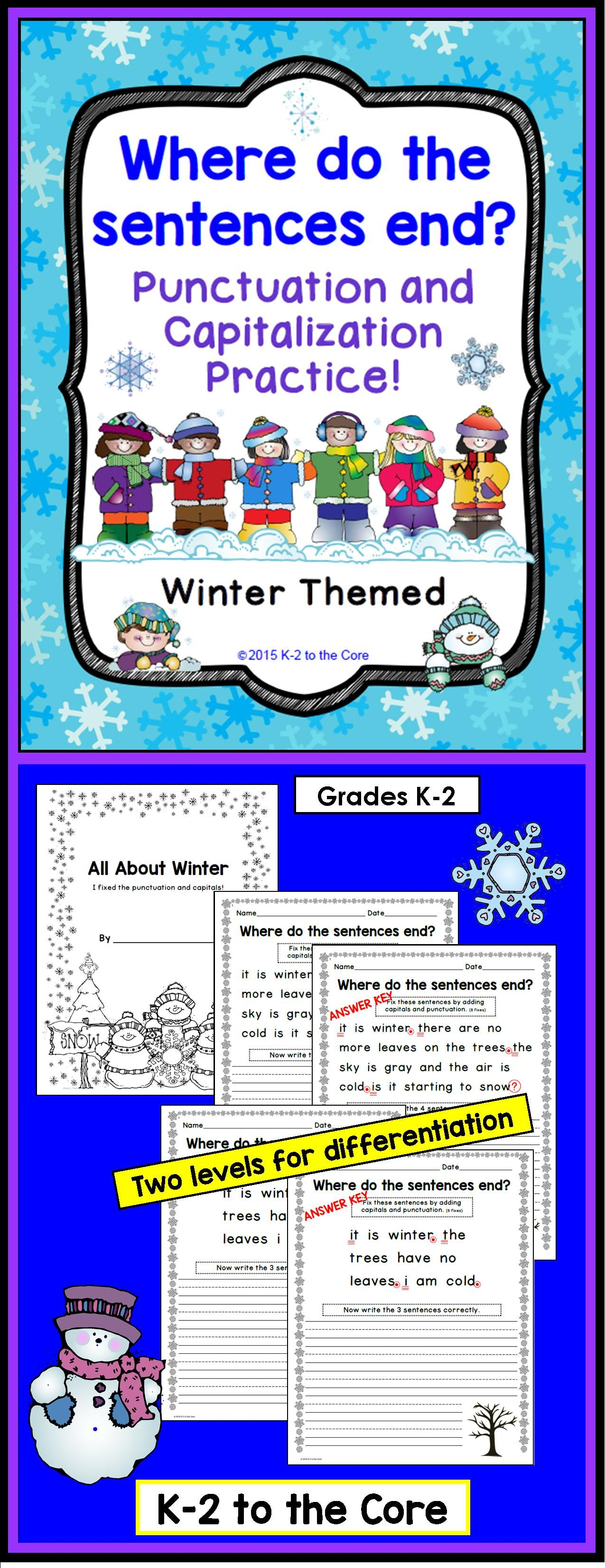 Winter Writing Punctuation And Capitalization Where Do The Sentences End