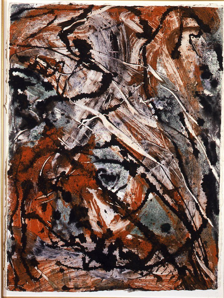 Emilio Vedova GT / EV 10-89 W.12 , 1989 Monotype, oil on paper, cm. 77,5 x 57,5