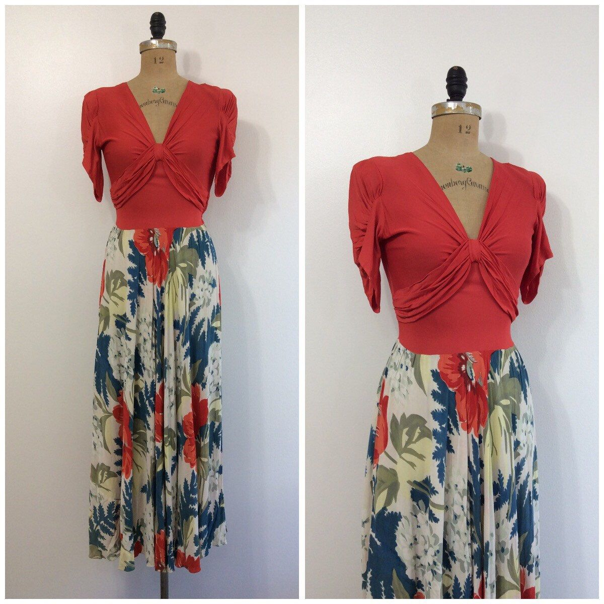 A personal favorite from my Etsy shop https://www.etsy.com/listing/476312217/1940s-floral-formal-maxi-dress-40s