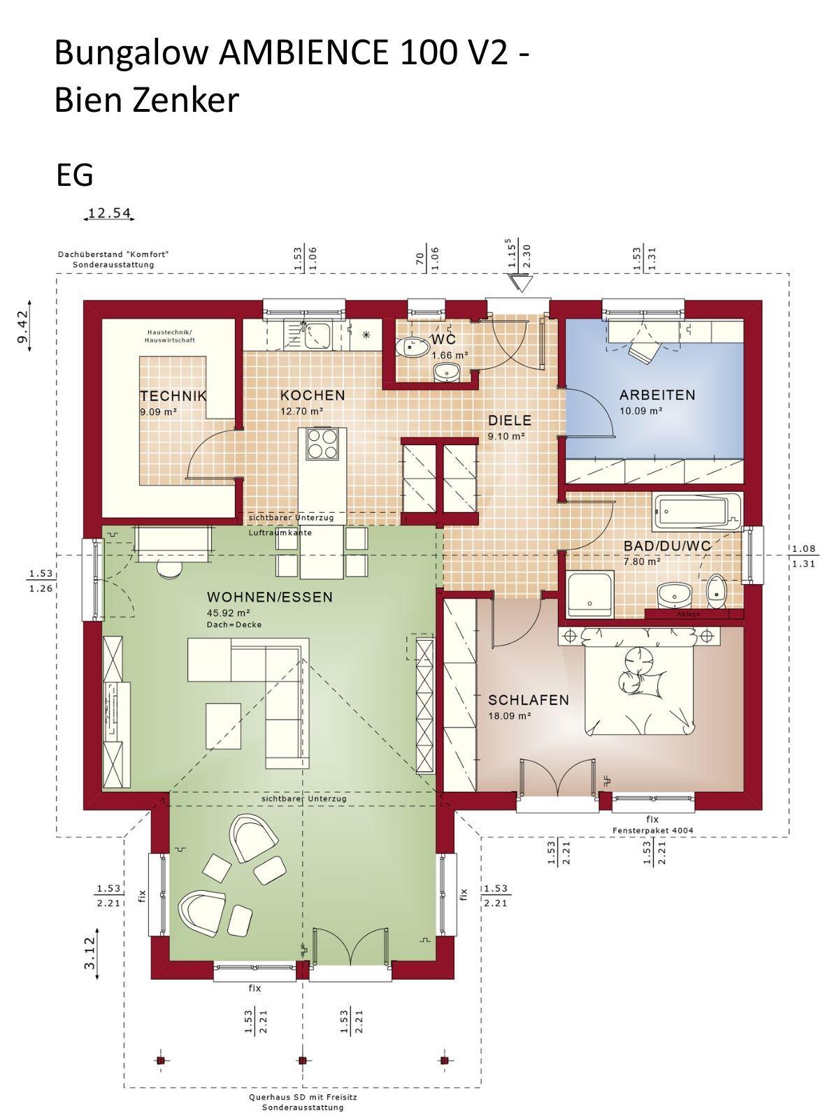 Bungalow Haus Grundriss ebenerdig mit Satteldach
