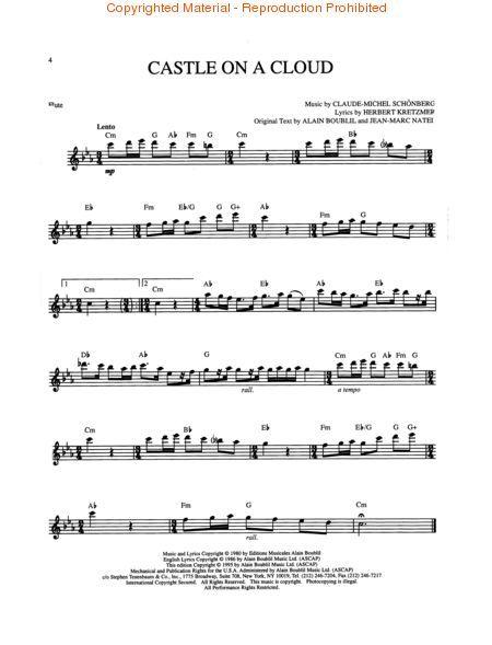 Les Miserables Cosette S Solo Castle On A Cloud For Flute Sheet Music Les Miserables Music Flute Music