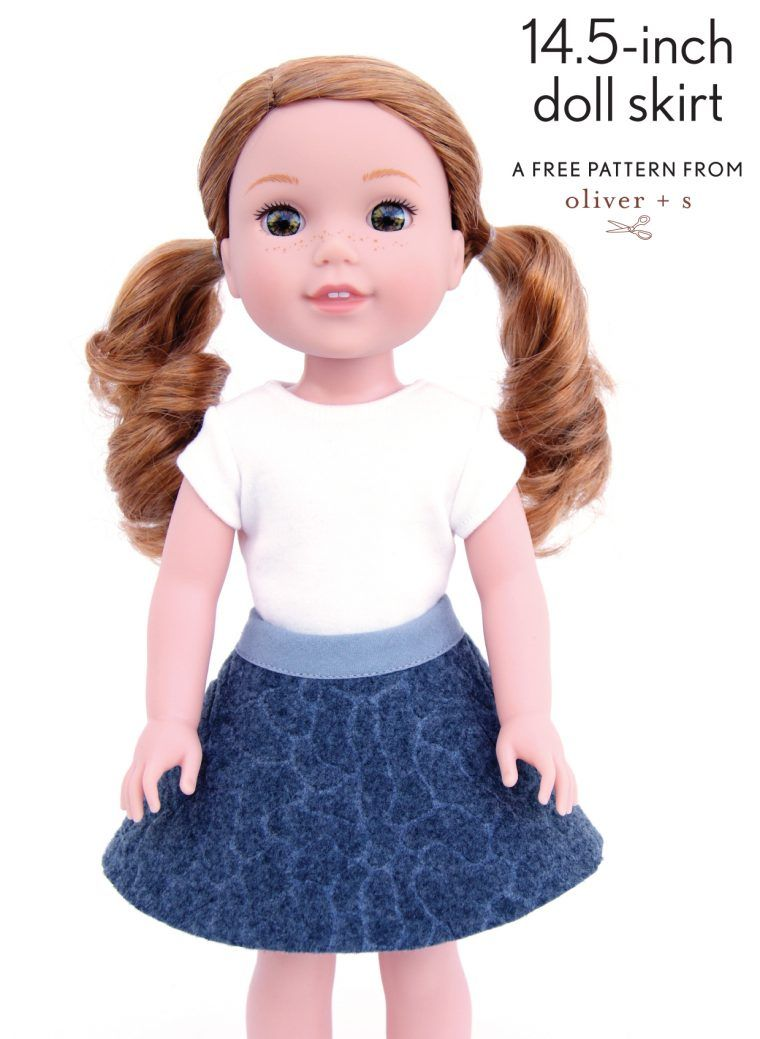 free pattern for 13- and 14.5-inch doll skirts | Welle, Stiche und Nähe