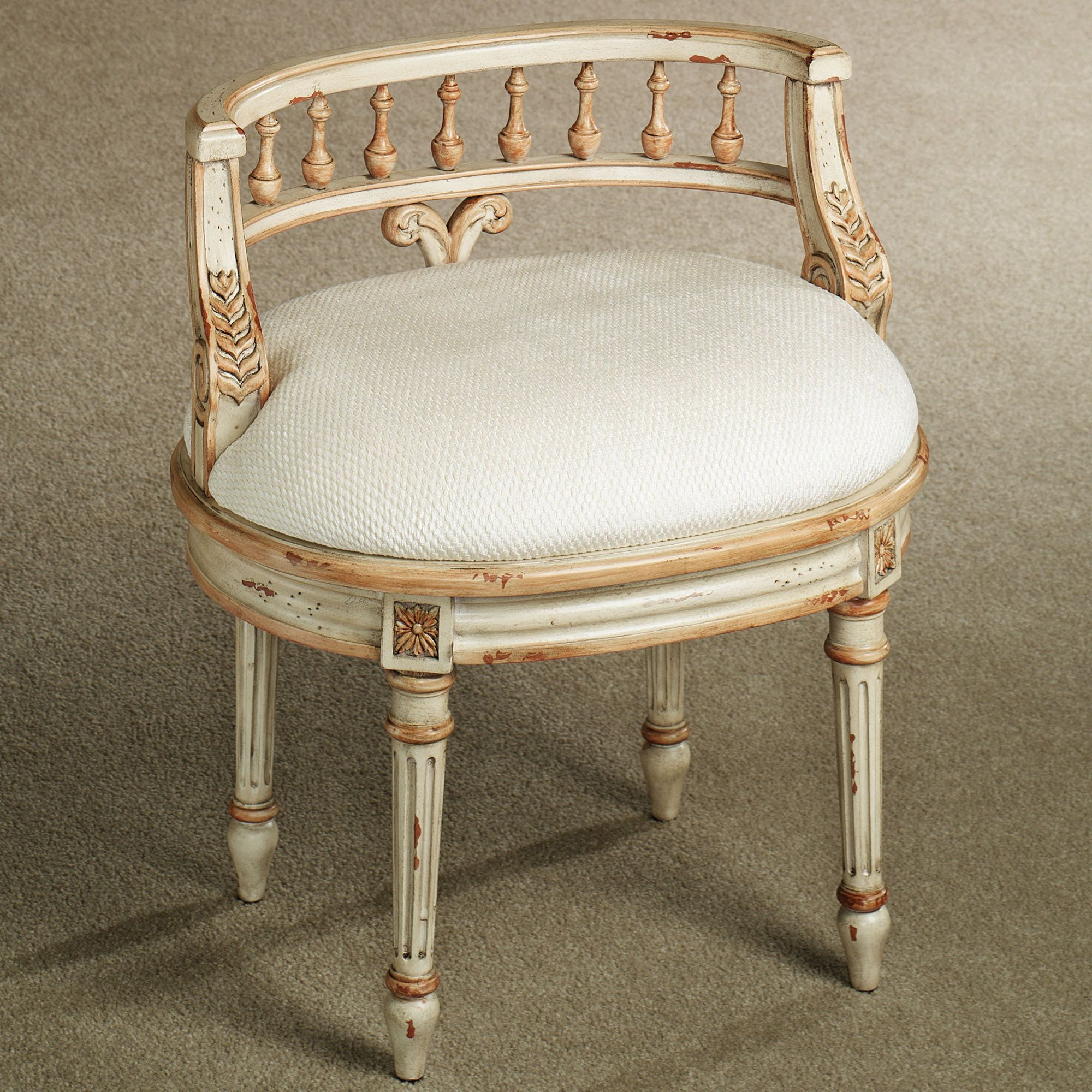 Queensley Upholstered Antique Ivory Vanity Chair | Vanities, Bench