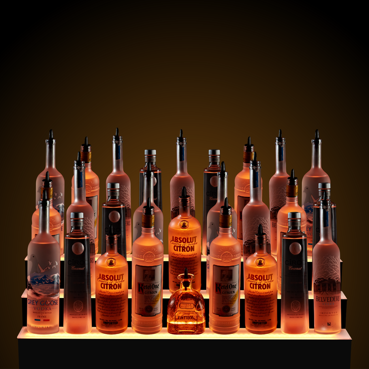 3 Step 7 Led Liquor Tier L E D Lighted Bottle Display Shelves