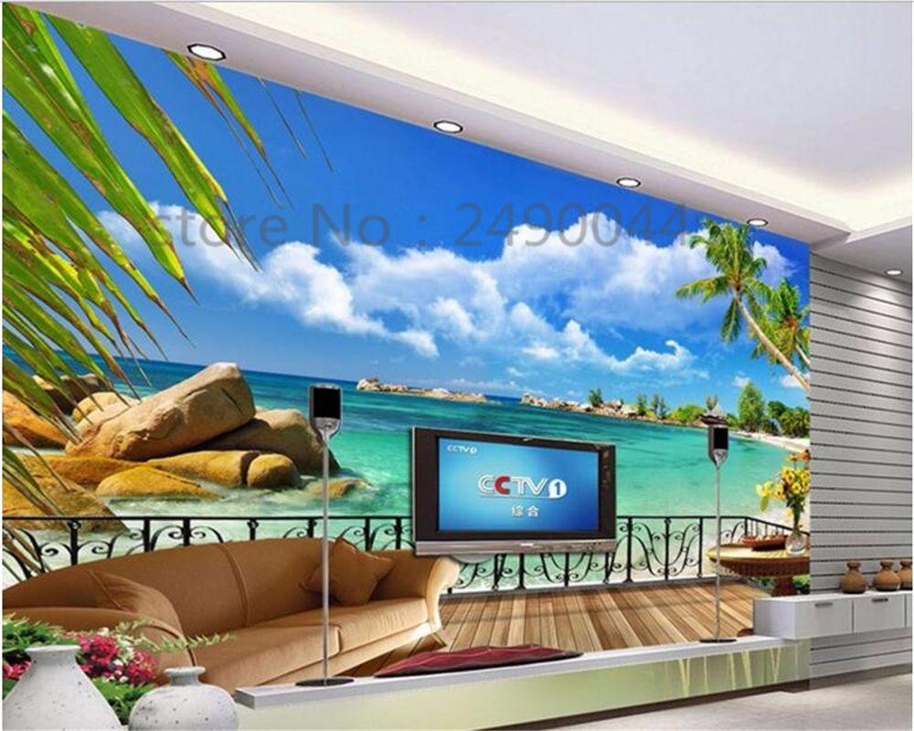 Beibehang Custom 3d Hd Wallpaper Beach Balcony Landscap