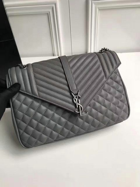 YSL Spring Summer 2017 Collection-Saint Laurent Large Monogram Envelope  Satchel in Grey Mixed Matelasse Leather 70bce7ba815e8