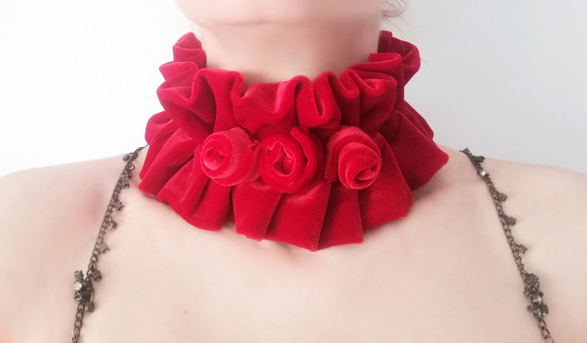 Charlotte Bronte costume Victorian roses tulle ruffle collar in purple Jane Eyre collar Women neck accessory Layered wide neck collar
