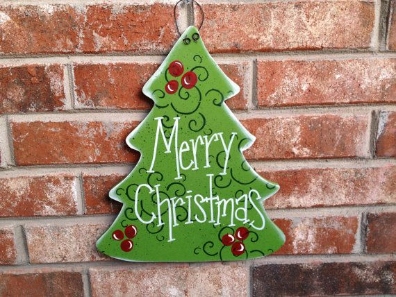Whimsical Green and Red Wooden Christmas Tree by SouthernSupply, $12.00