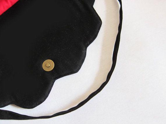 black handbag with a huge flower printed flap by sofiapaseka, $49.00