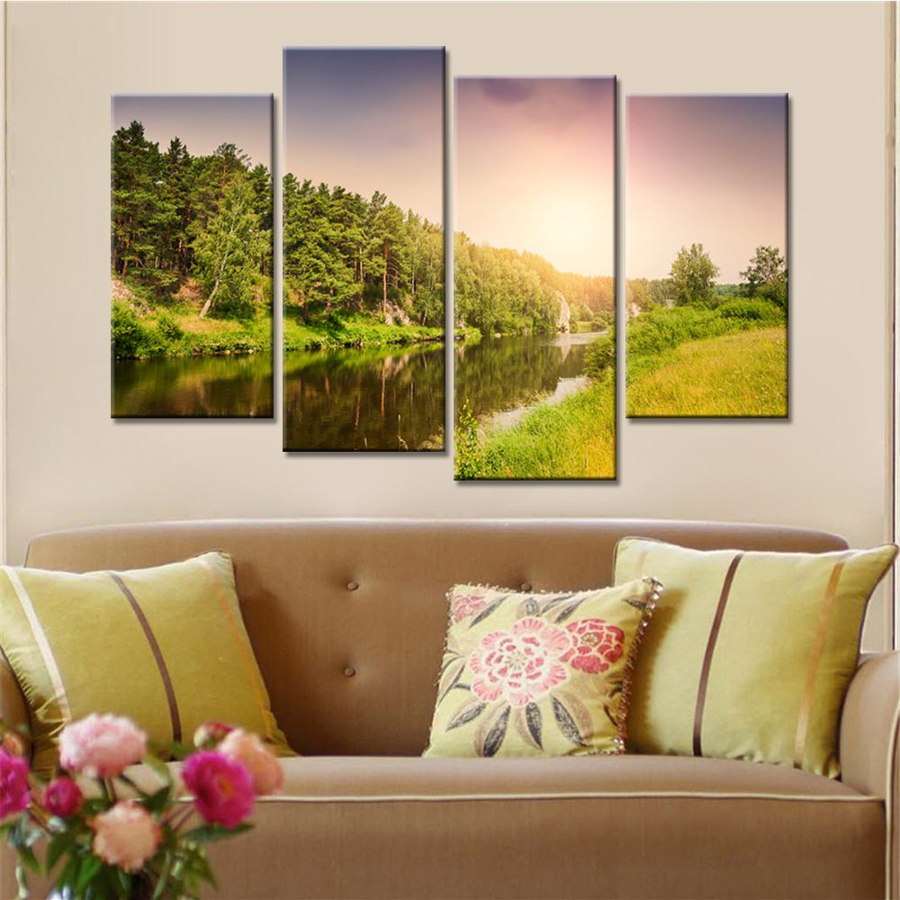 4 Panels Sunset Mountain Landscape Modern Wall Art Canvas Painting ...