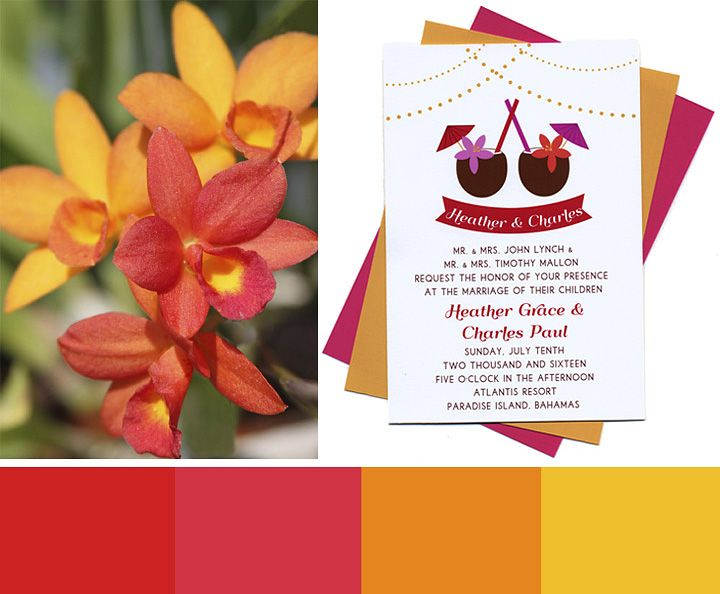 Tropical Cocktails Wedding Invitations Color Palette For A Beach