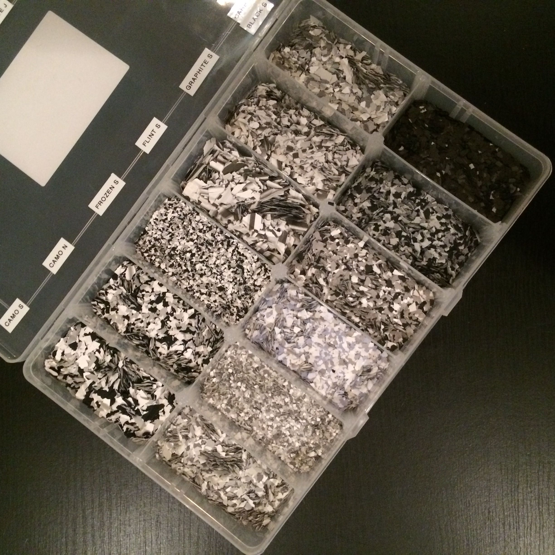 These are our greys, whites and black epoxy flake range