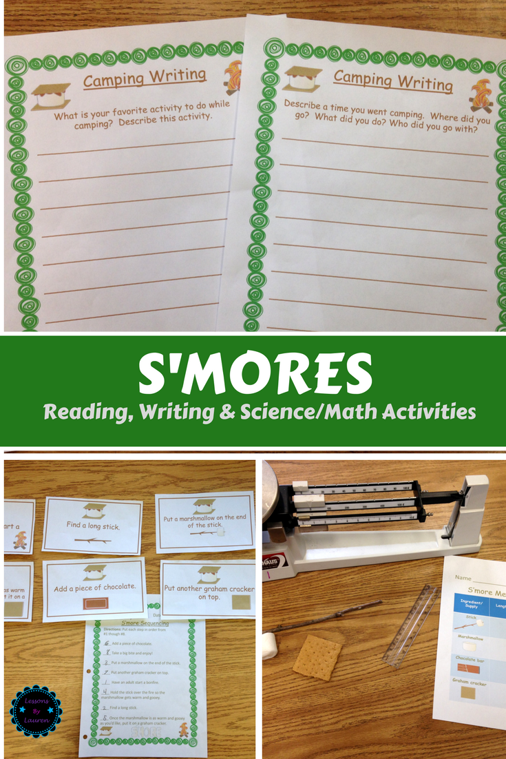 S\'mores and Camping Themed Activities for Reading, Writing, and ...