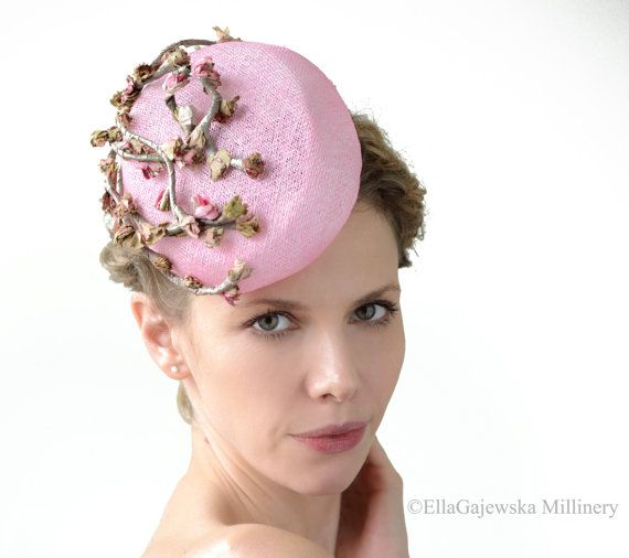 Pastel Pink Pillbox Hat - FREE Clutch Bag - Pink Hatinator Cocktail Design  Summer Retro Blossom Vintage Flower Cascade Weddings Accessories  392576374f03