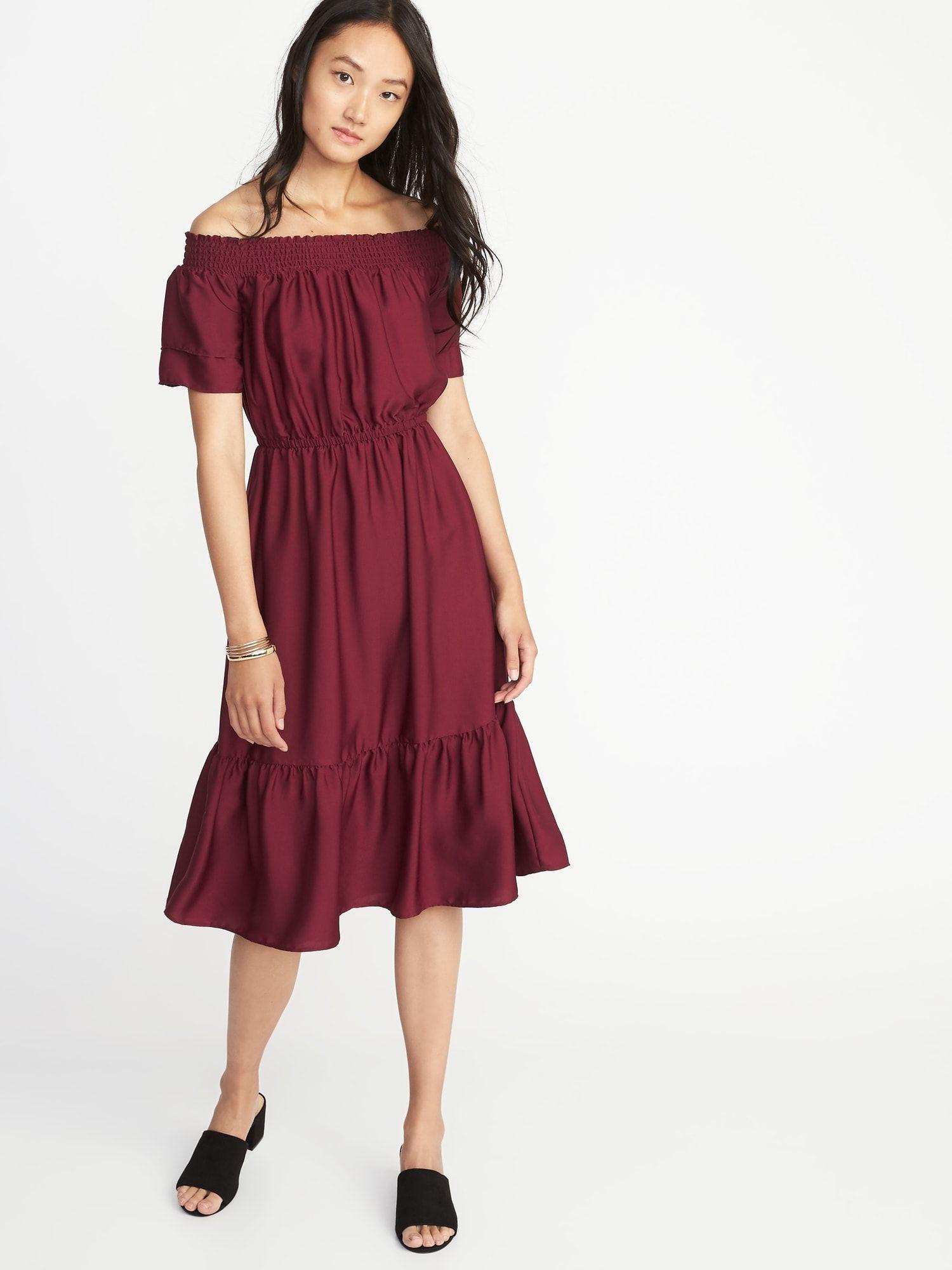 df0c17a10 Waist-Defined Smocked-Neck Midi Dress for Women