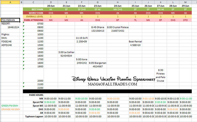 walt disney world vacation planning spreadsheet