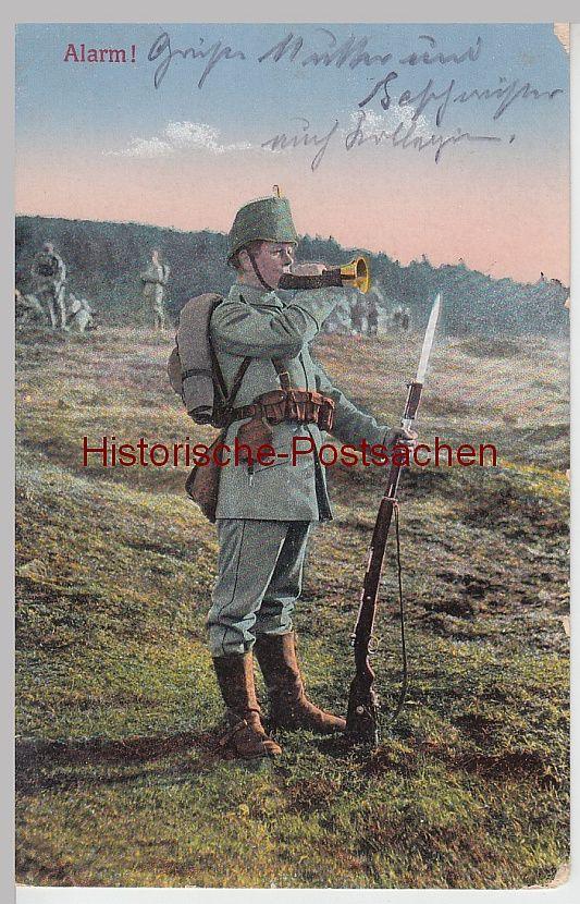 "WWI, German postcard ""Alarm"""