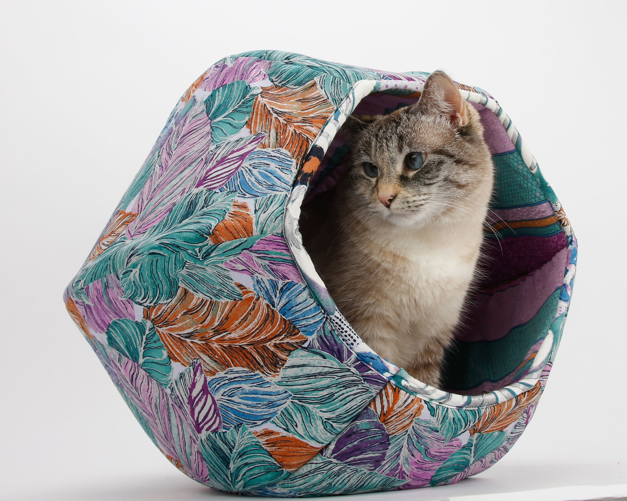 Cat Ball Cat Cave Bed In Silver And Purple Monstera Leaves Fabric