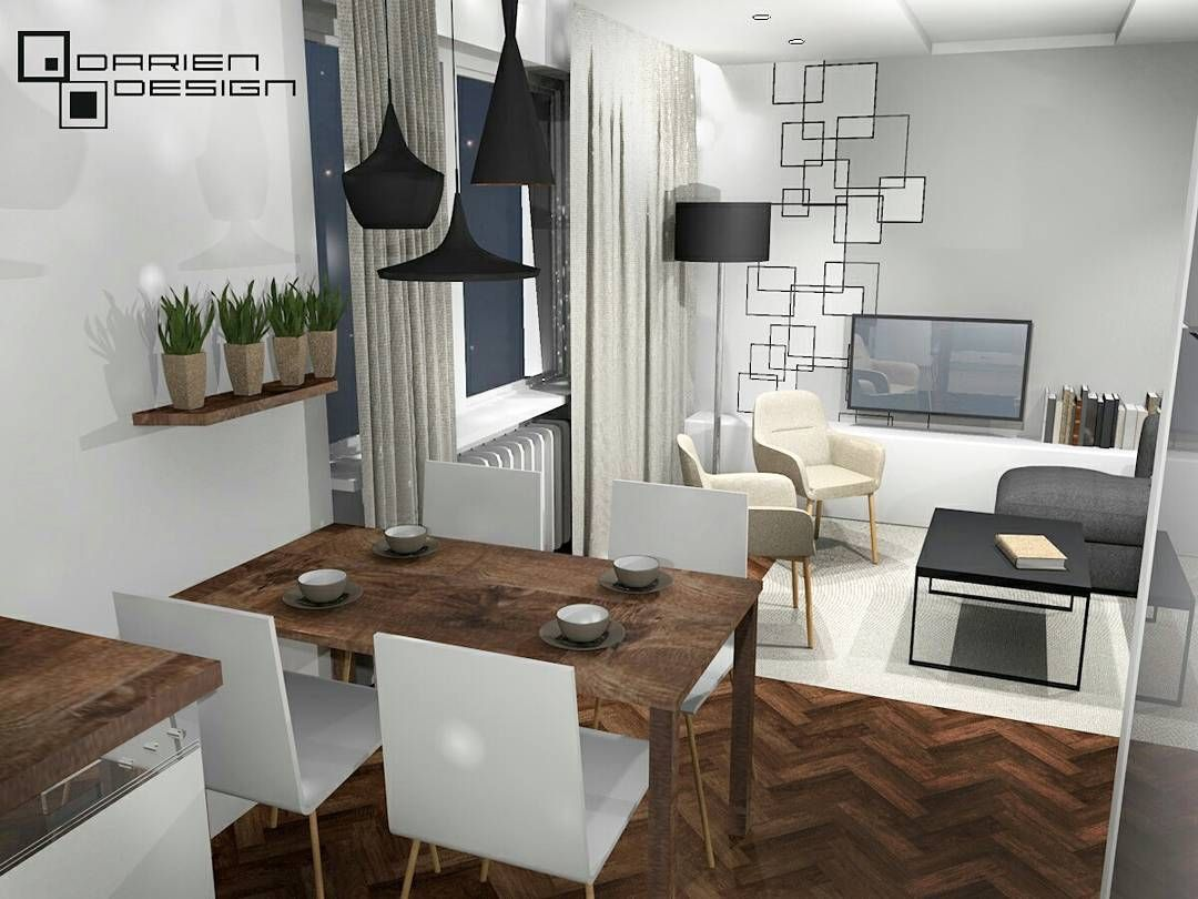 Projekt Wnetrza Salonu Z Jadalnia I Otwarta Kuchnia W Poznanskim Mieszkaniu Ciemnego Rustykalnego Drewna Ciag Dalszy A Te Geomet Home Decor Home Furniture