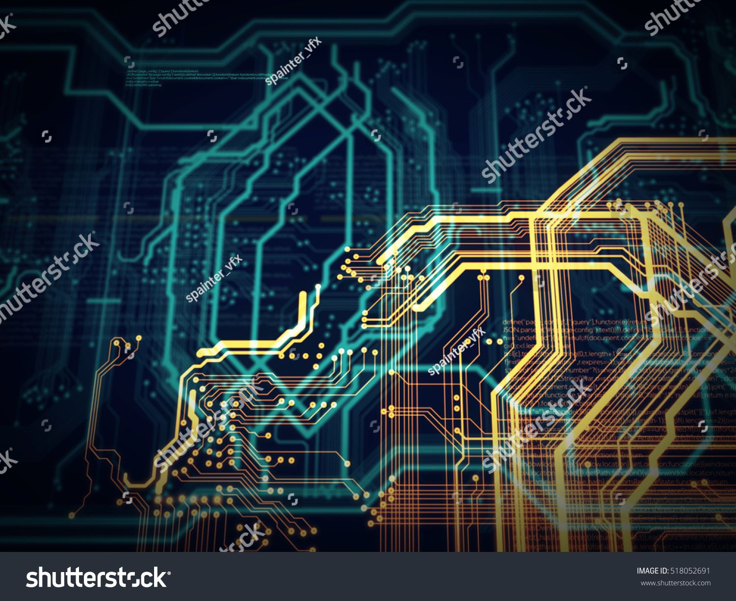 PCB, Code, HTML; web programming software background; 3D