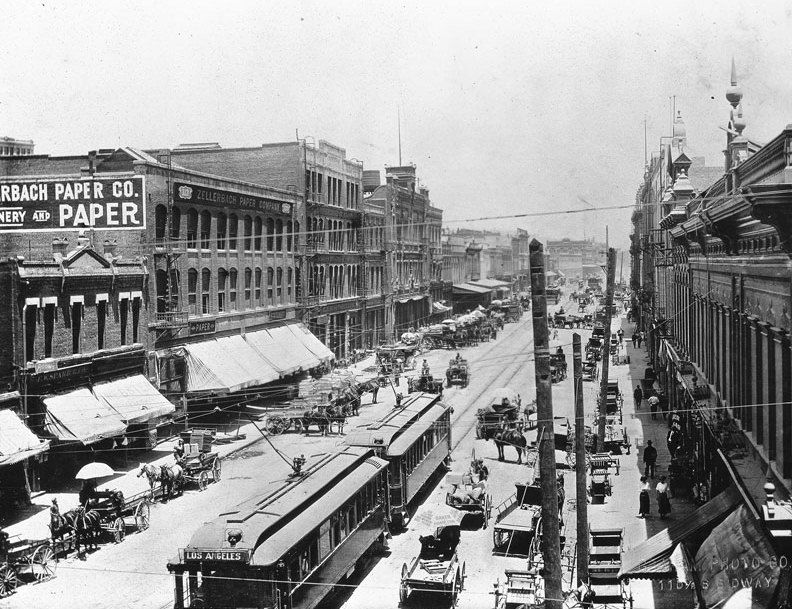 1907 Photograph Of Carriage Traffic On Los Angeles Street At First Street Streetcar Tracks Can Be Seen Embedded In The Mid Los Angeles Street View Water