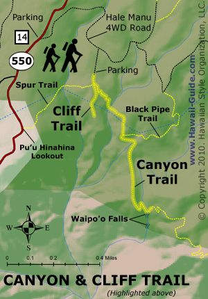 Canyon and Cliff Trail Map - Kauai | Leaving on a jet plane ... on clifty falls state park trail map, waimea canyon state park map, anza-borrego state park trail map, na pali coast kauai trail map, na pali coast state park map, watoga state park trail map, lake norman state park trail map, cunningham falls state park trail map, cherry creek state park trail map, castle rock state park trail map, waimea canyon trail map, high point state park trail map, shawnee state forest backpack trail map, hanalei trail map, brown county state park trail map, canaan valley state park trail map, nockamixon state park trail map, oak mountain state park trail map, iao valley state park trail map, kalalau trail trail map,