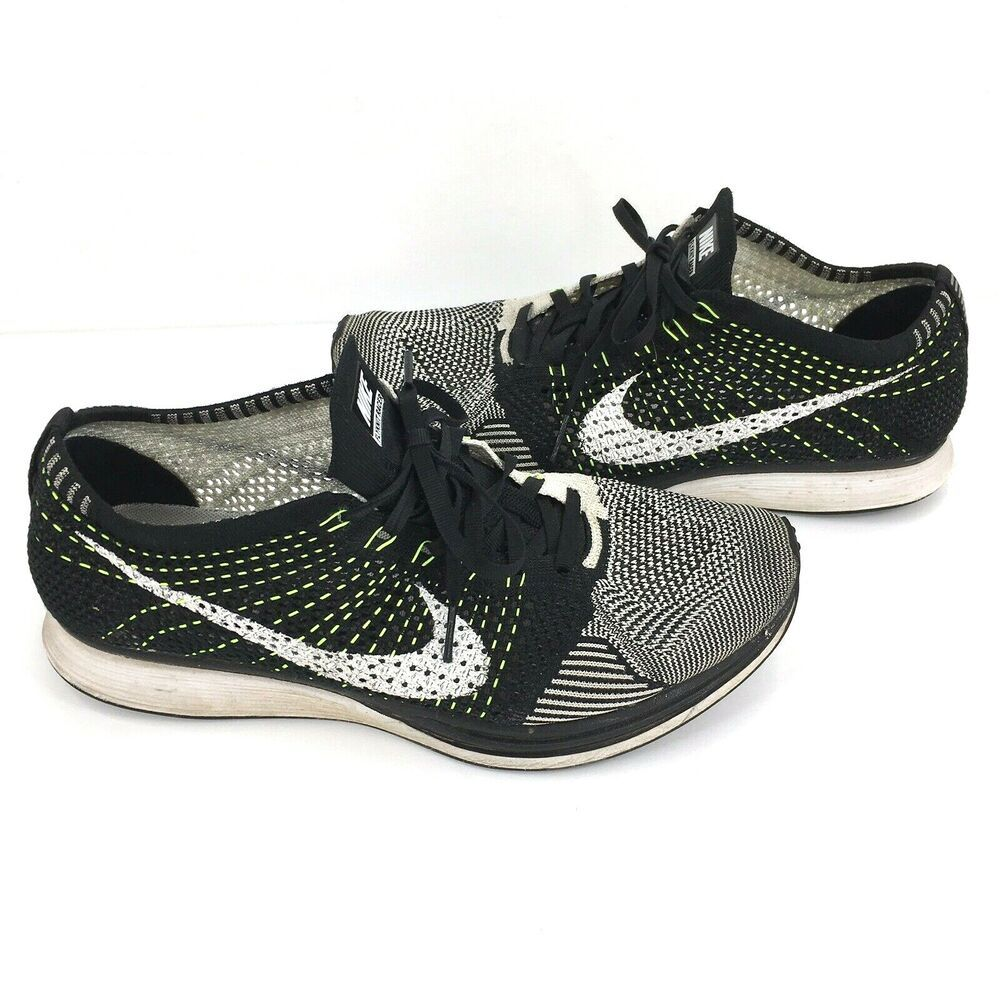 new product 752f5 532be Nike Flyknit Road Racer Black White Volt Orca Oreo 526628 011 Men s Size  10.5  Nike  RunningShoes