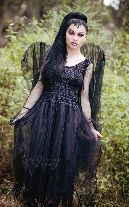 Adult Black Fairy Dress Plus Size Gothic Glamour Witch Costume