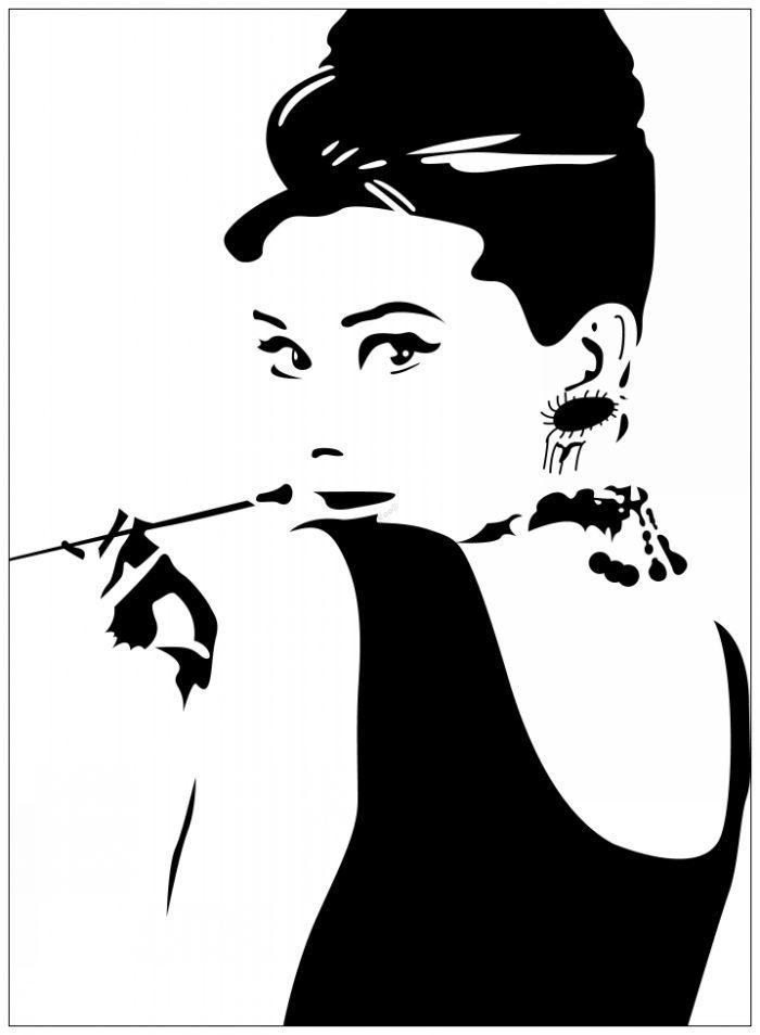 Audrey-Hepburn-Breakfast-at-Tiffany-s-Silhouette- | art ...