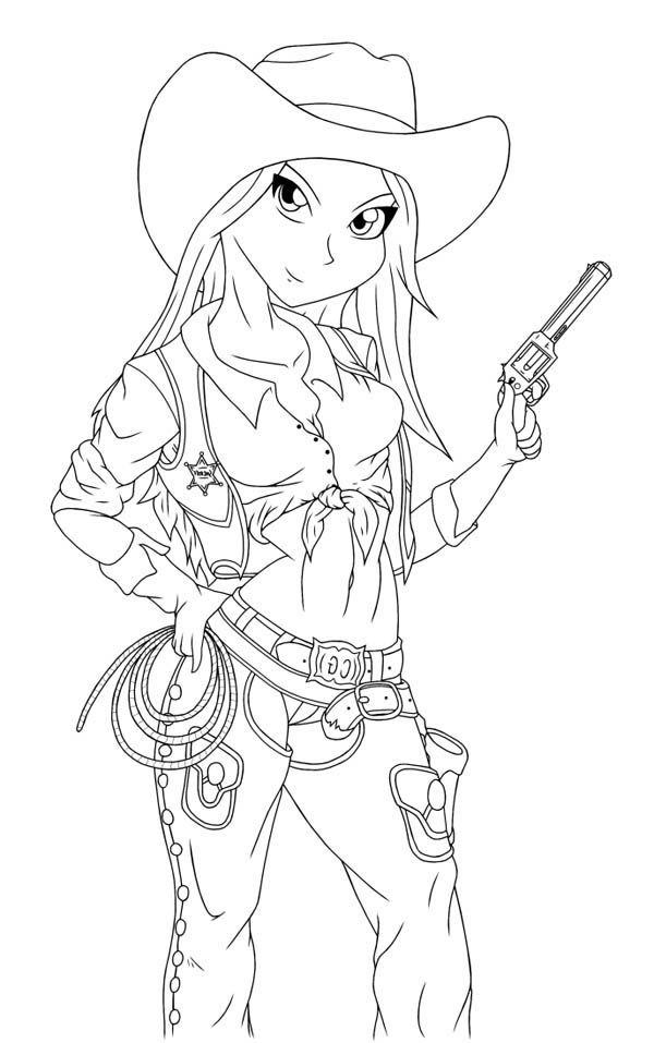75 Coloring Pages Cowgirl Download Free Images