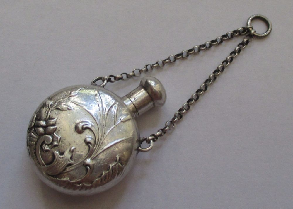 Chatelaine Antique Solid Silver Bottles