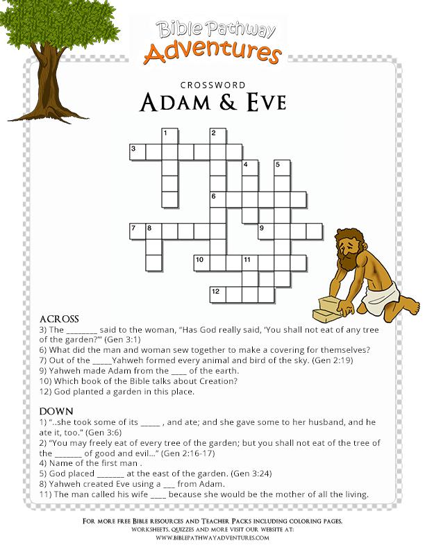 Free Bible Crossword Puzzle: Adam and Eve | Sunday school ...