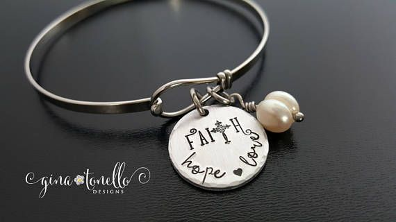 Faith Hope Love Bracelet Religious Confirmation Cross Catholic Jewelry