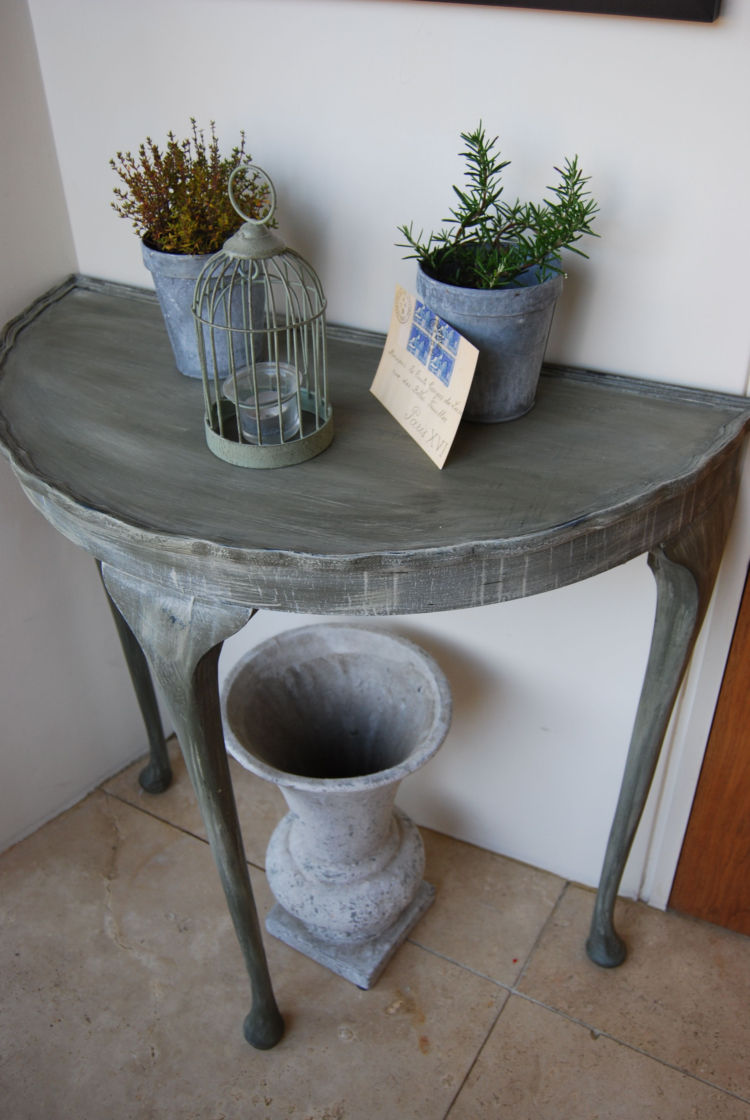 Half Moon Table Finished In Olive Decor Shabby Chic Furniture