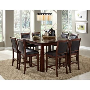 At Home By O Taranto Warm Walnut Granite Inlay 9 Piece Dining Set