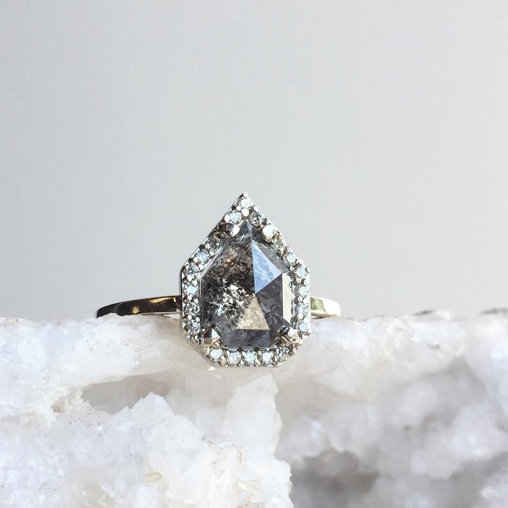 Black diamond engagement ring with pavé halo Alexis Russell